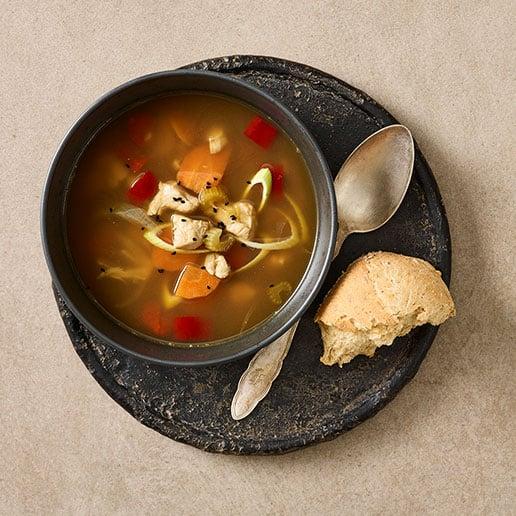 suppe med kylling fra Halkær Ådal