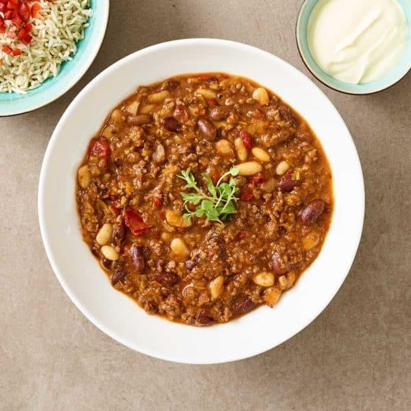 Levering af chili con carne fra Halkær ådals måltidskasse