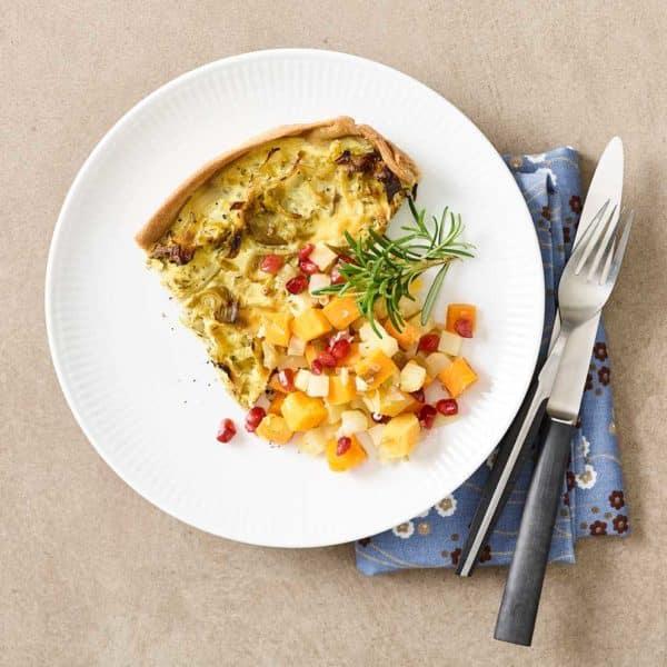 Grøntsagstærte fra Halkær Ådals måltidskasser