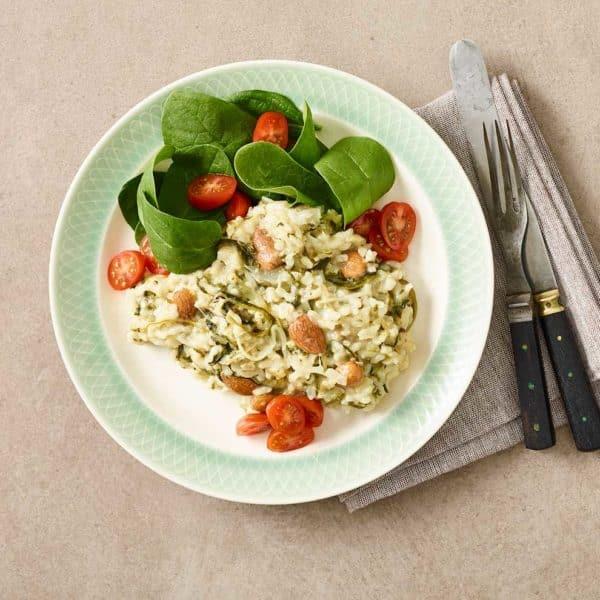 Risotto med mandler og spinat - Vegetarisk